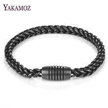 Punk Men Stainless Steel Chain Bracelet Individuality Magnetic Clasps Bangle Party Gift Fashion Male Jewelry Accessory Wholesale