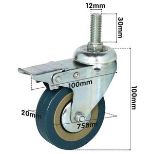 Image 3 - Rotatable castors made of heavy steel and PVC 75mm casters with brake casters for furniture, set of 4 (support wholesale discoun