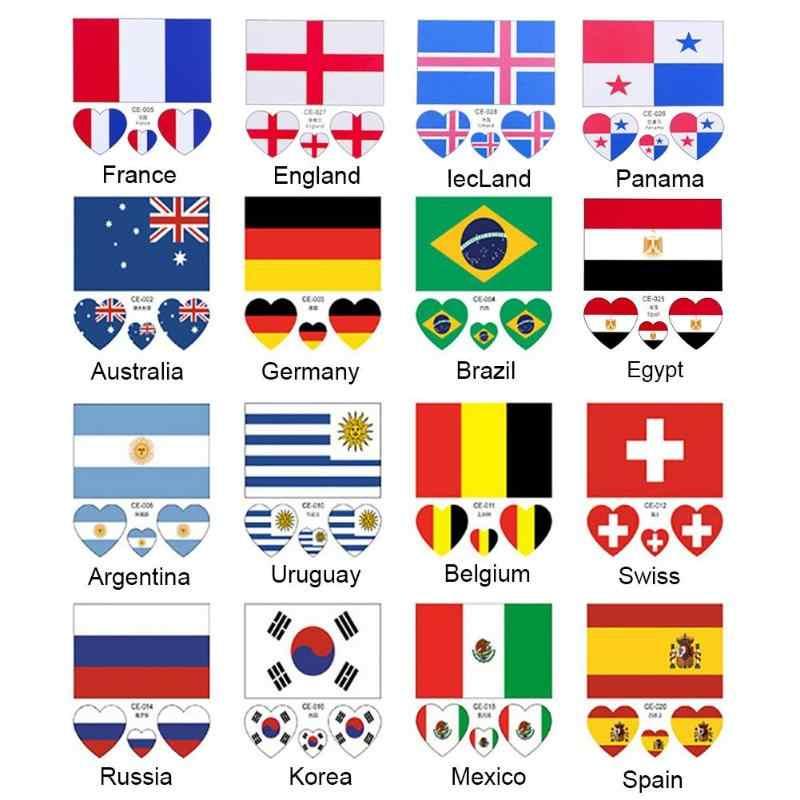 Autocollants de drapeau National jetables imperméables de coupe du monde de Football pour l'autocollant de drapeau de pays d'audiences de Football d'enfants