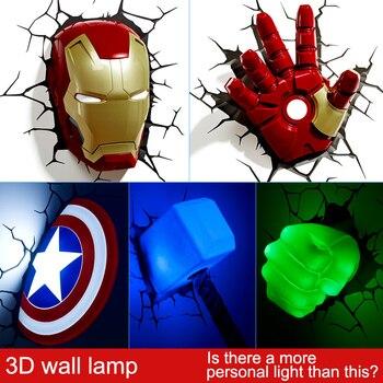 Marvel Toys 3d Sticker Wall Lamp Avengers Iron Man Hulk Captain America Led Light Fixtures For Bedroom
