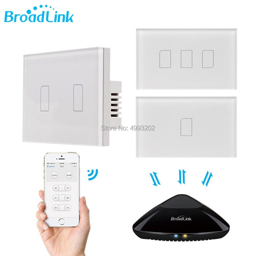 2020 Broadlink TC2 US/AU Version 1 2 3 Gang WiFi Home Automation Smart Remote Control Led Light Switche Touch Panel Via RM Pro+