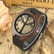 08046d554351 Madera Natural. reloj de cuarzo de cuero genuino de los hombres reloj de  pulsera Árbol de la vida de moda de diseño de hombre re.