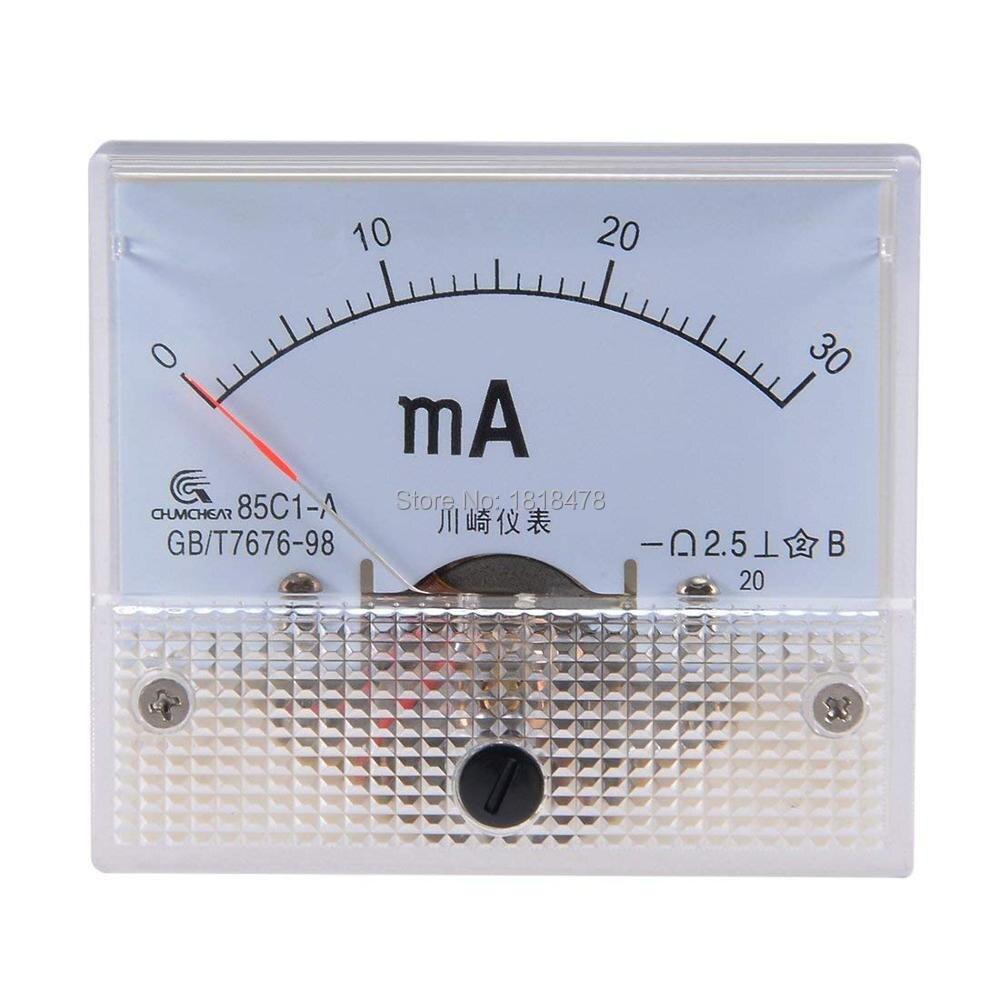 85C1 0-50mA 1mA 20mA 30mA 100mA 200mA 500mA DC Аналоговая Панель Амперметр измеритель тока 85C1 Белый 0-50mA 64х56 мм