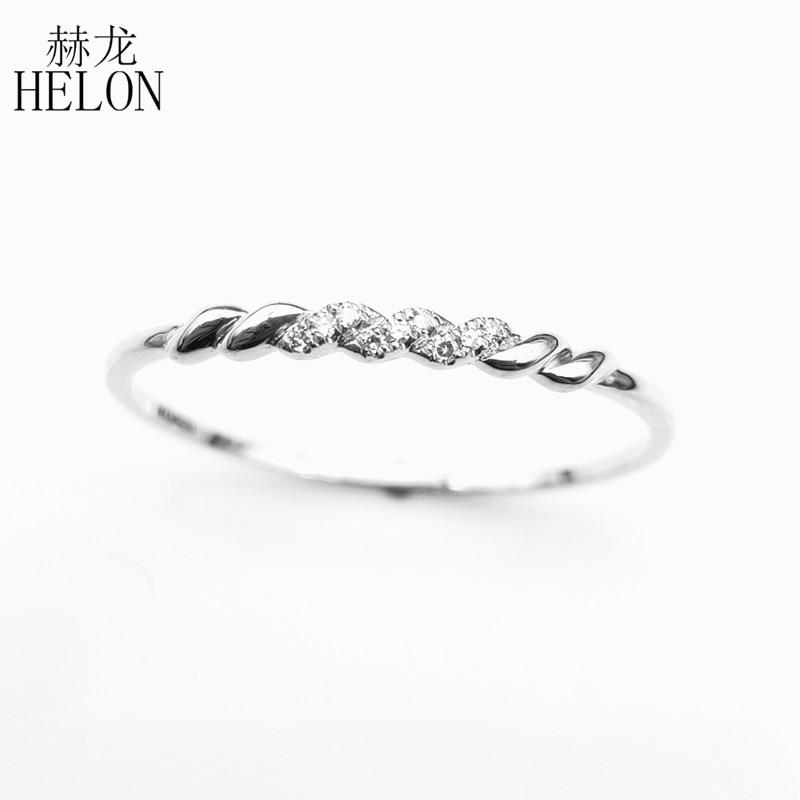 HELON Solide 14 K Weiß Gold (AU585) certified H/SI Runde 100% Echte Natürliche Diamanten Engagement Hochzeit Frauen Edlen Schmuck Ring-in Ringe aus Schmuck und Accessoires bei  Gruppe 2