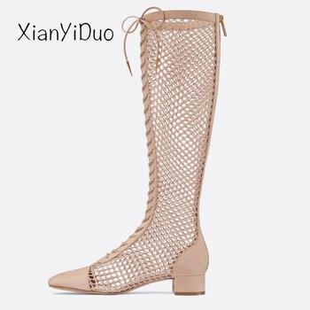 c53ff3541 Product Offer. Xianyiduo 2019 новые летние сапоги с перекрестной шнуровкой Женская  обувь ...