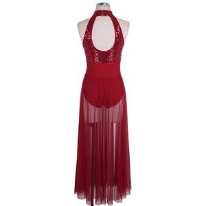 Image 4 - TiaoBug 女性ノースリーブホルターシャイニースパンコールバレエレオタード大人のステージ叙情的なダンス衣装バレエチュチュマキシメッシュダンスドレス