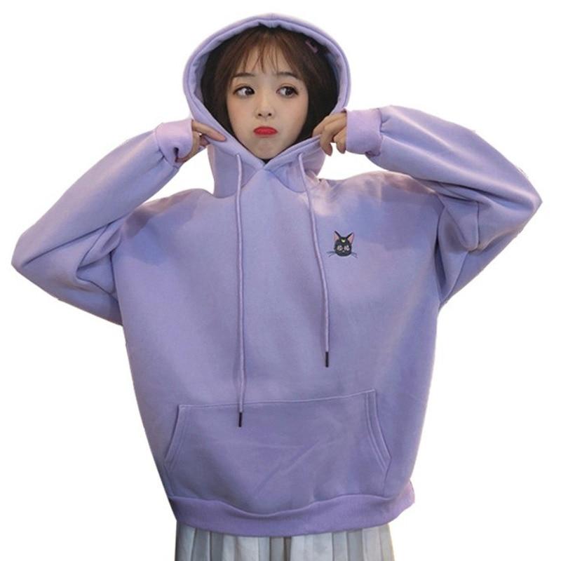 Autumn Winter Harajuku Sweatshirt Korean Kawaii Girls Sailor Moon Luna Cat Embroidery Hoodies Women Plus Velvet Thicken Outwear