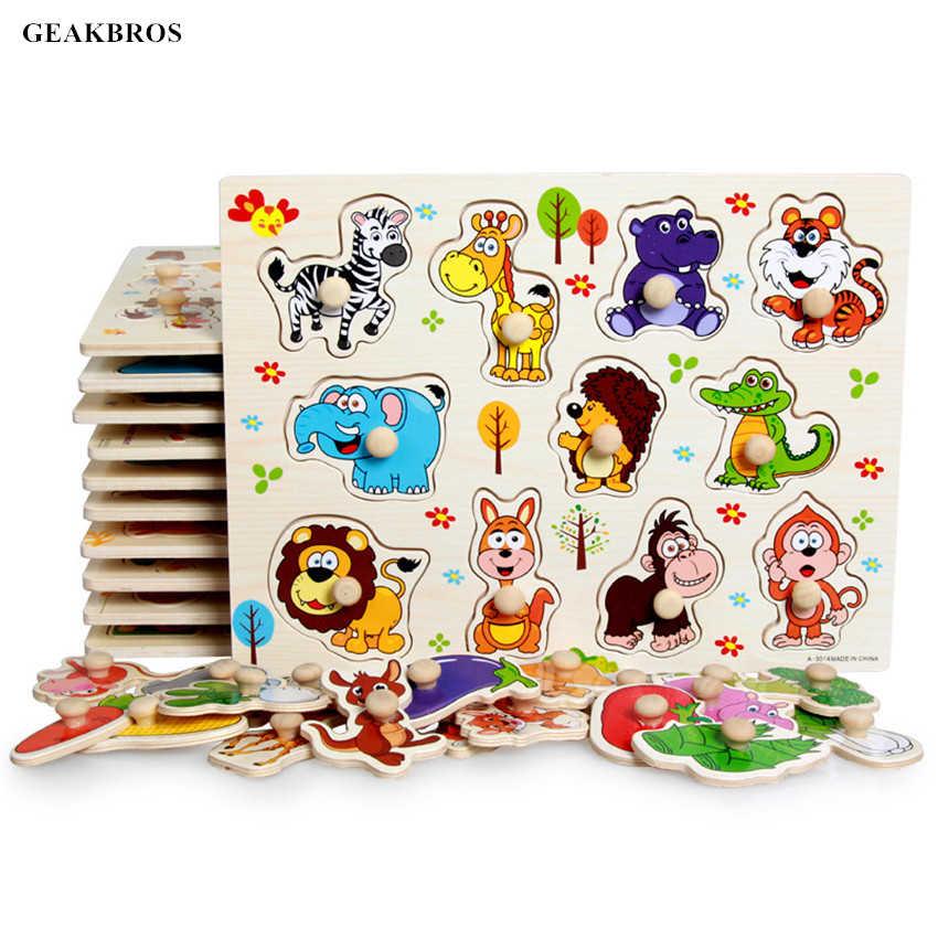 Детские игрушки Деревянные Монтессори головоломки ручной захват доска Tangram Развивающий пазл игрушка мультяшный автомобиль морской животные головоломка детский подарок