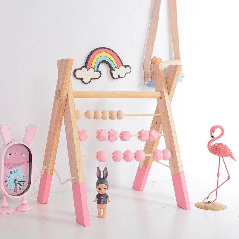 LM classique en bois éducatif comptage jouet Triangle étagère murale en bois boulier enfants début des mathématiques apprentissage jouet décor à la maison - 3