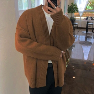 Image 2 - 2019 Spring And Autumn Solid Color Loose Couple Chic Sweater Cardigan Korean Mens Sweater Wild Jacket Gray / Brown M XL