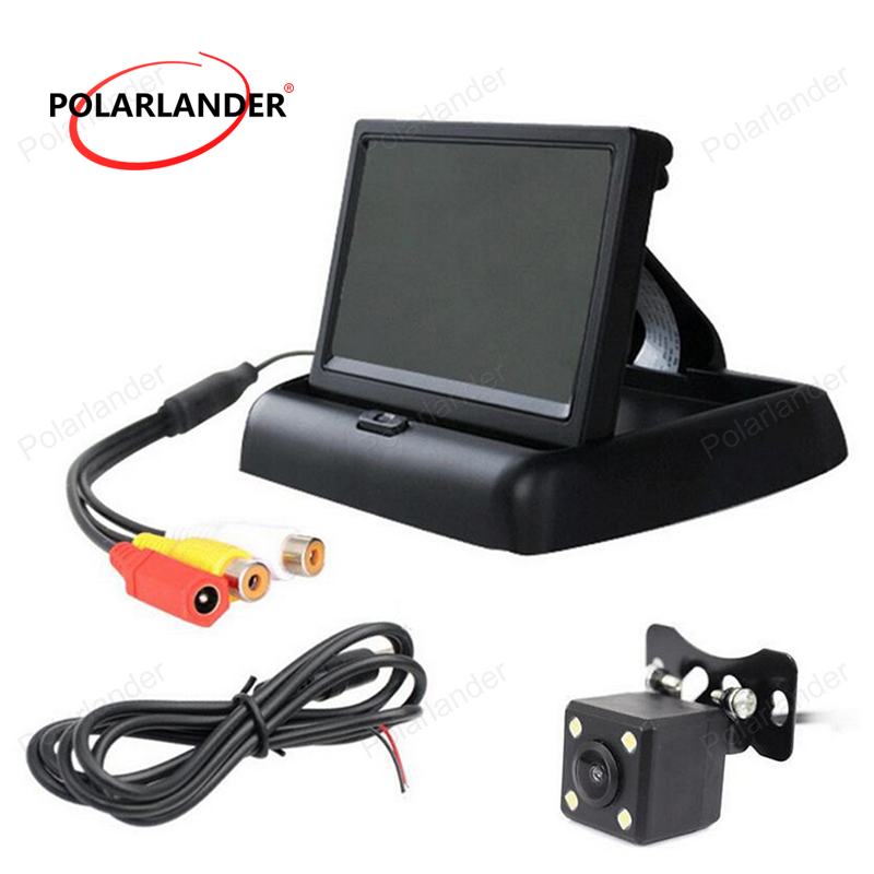 <font><b>4.3</b></font> <font><b>inch</b></font> LCD Foldable Car <font><b>Monitor</b></font> with 4 LED Night Vision CCD Rear View Camera Auto Parking Assistance image