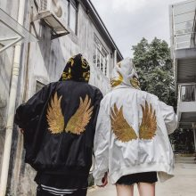2018 winter wings embroidery stitching hooded jacket juventus xxxtentacion Women Hip Hop Hip Hop Hood mens clothing Street wear(China)