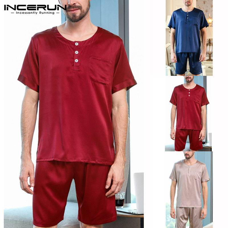 INCERUN Silk Satin Men Pajamas Set Summer Short Sleeve Tops Sleepwear Suit Soft Shorts Homewear Pyjamas Set Nightgown 2019 S-5XL