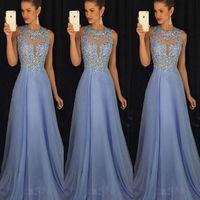 Пикантные для женщин Формальные Свадебные блестками без рукавов Флора длинные Вечеринка бальное платье на выпускной See Through голубое платье