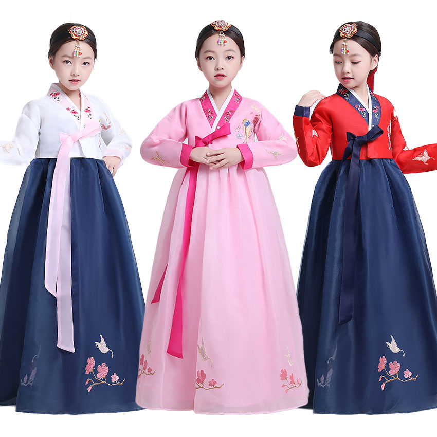 Luxury Teenager Girls Traditional Korean Hanbok Dress Set V-neck Floral New Year Wedding Party Dance Costumes Stage Performance