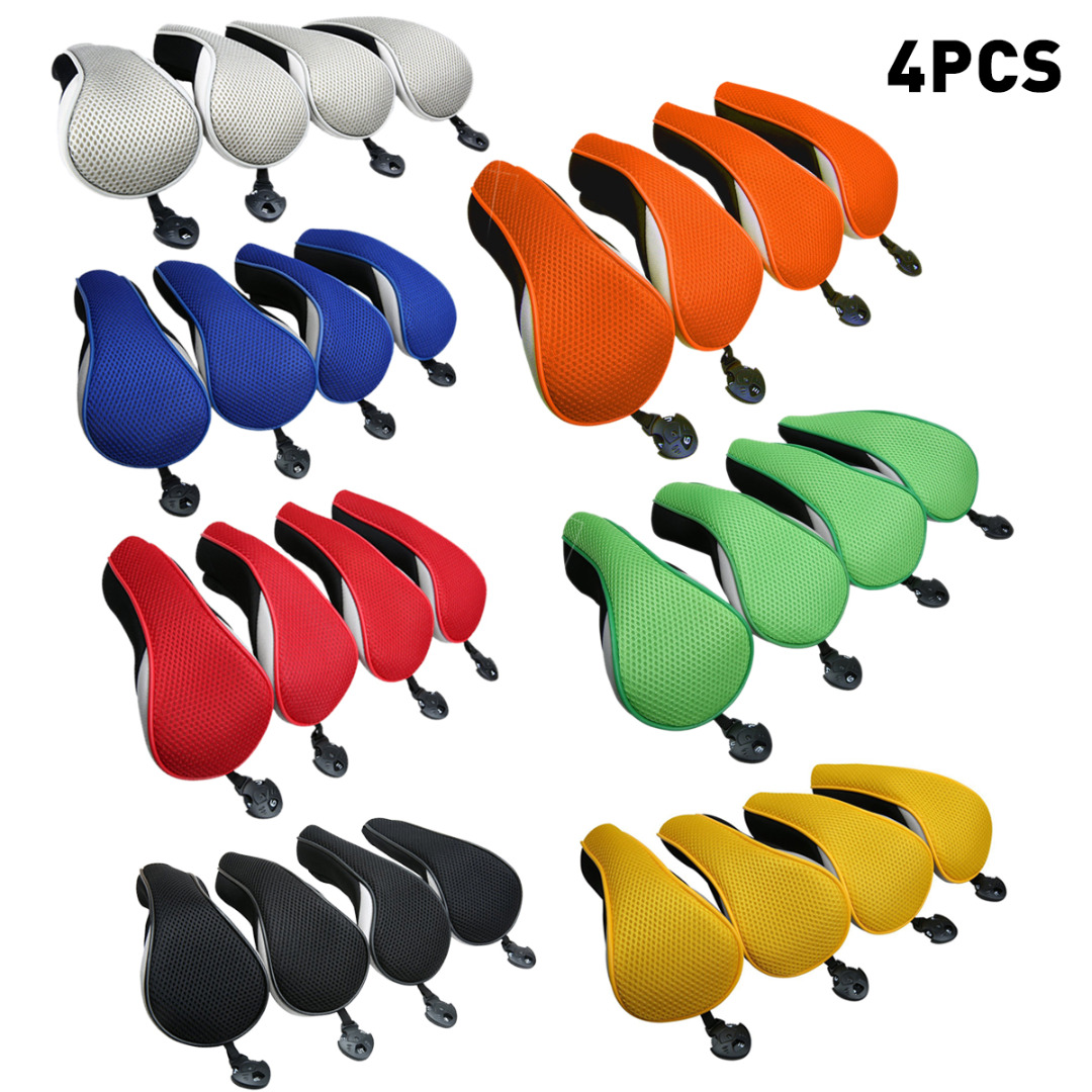 4Pcs Universal Golf Club Head Covers Golf Neoprene Protective Cover Replacement Driver Fairway Wood Covers Golf Accessories