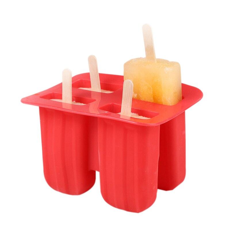 Met Goed Opvoeding Food Grade Siliconen Ijs Tubs Popsicle Mallen Met Houten Stokken Ice Cube Tray Kitchen Gadgets Candy Bar Accessoires Gereedschap Kan Herhaaldelijk Worden Omgedraaid.