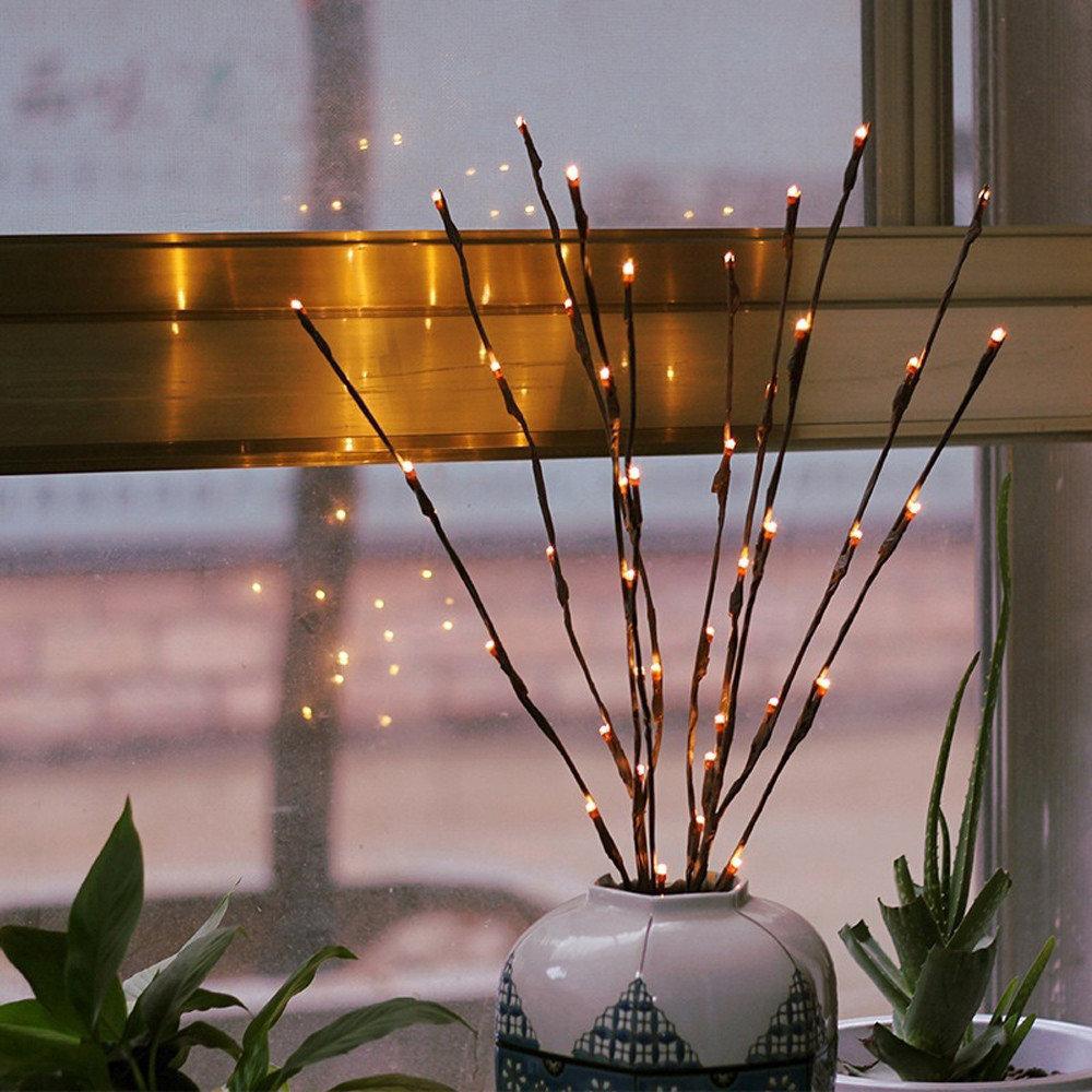 20 Led Artificial Branch Light String Lantern Nordic Room Bedroom Night Light Lamp Party Decor Festive Party Supplies Bright In Colour