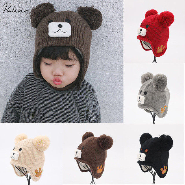 dcc4c7cf5c2 2019 Brand New Infant Baby Girl Boy Kids Bear Hat Pompom Ball Knit Woolen  Cartoon Cap