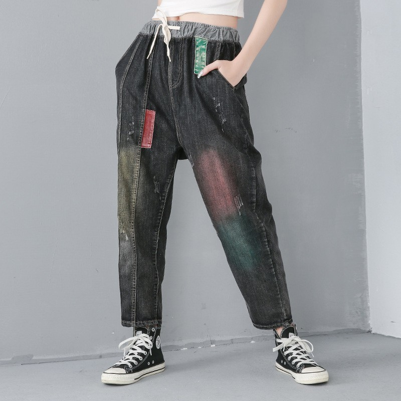 [YaLee] New Fashion 2019 Spring Summer Drawsting Elastic Waist Jeans Hole Splice Printed Pocket Loose Denim Pants Women Y331