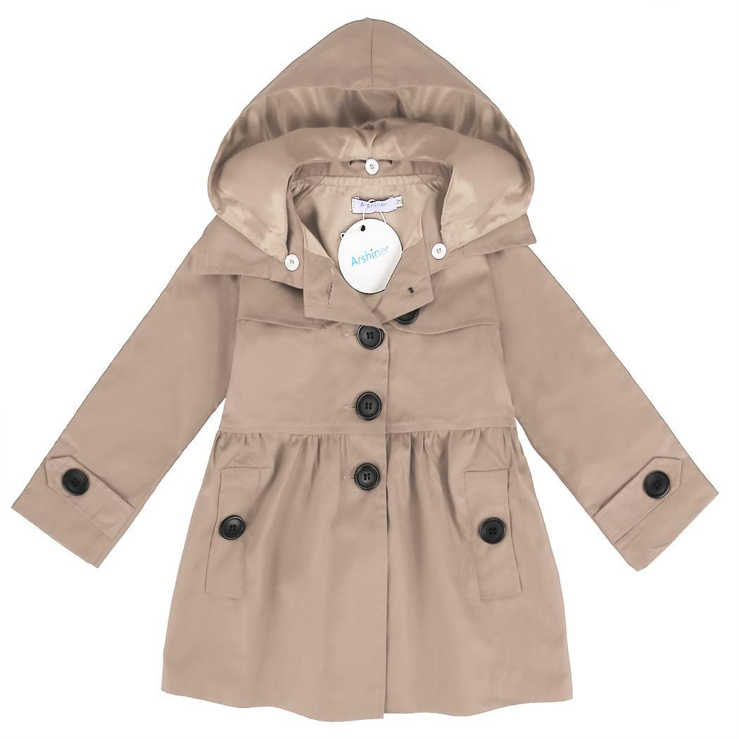 Arshiner Kids Girl Turn Down Neck Detachable Hat Single Button Pure Color Slim Cotton   Trench   Wind Coat Outwear