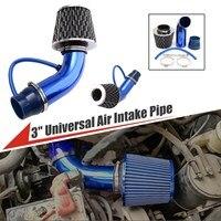 3 Universal Short Ram Racing High Flow Air Intake Kit Pipe Filter Clamp Aluminum Silicon Intake Tube Set Air Filter Piping