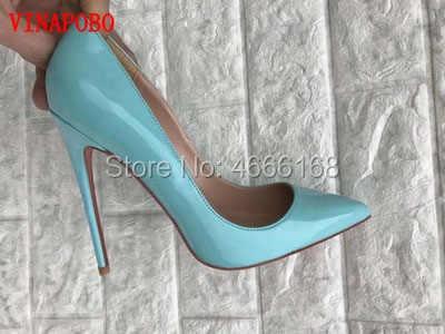 Vinapobo Lakleer Vrouwen Hoge Hakken Schoenen Stiletto Hoge Hakken Vrouwen Pompen Schoenen Sexy Blauw Wees Teen Vrouw bruiloft Schoenen