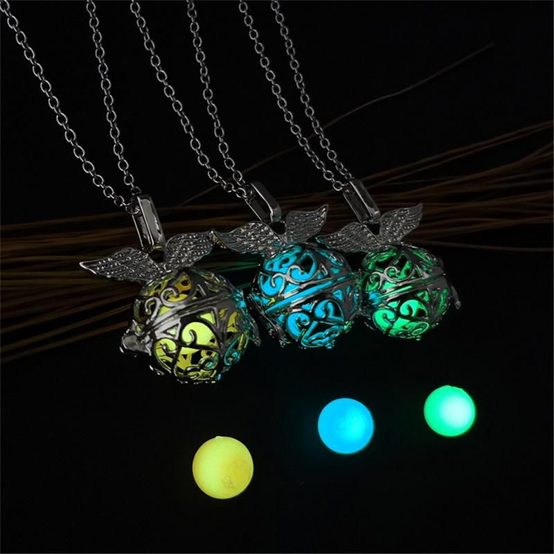 Flying Ball Dark Luminous Necklaces Silver Color Chain Necklace Glowing in Dark Pendant Necklaces Collares Maxi Choker Jewelry