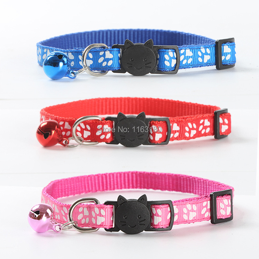 480pcs lot Safety Nylon Dog Puppy Cat Collar Breakaway Adjustable Cats Collars with Bell and Bling