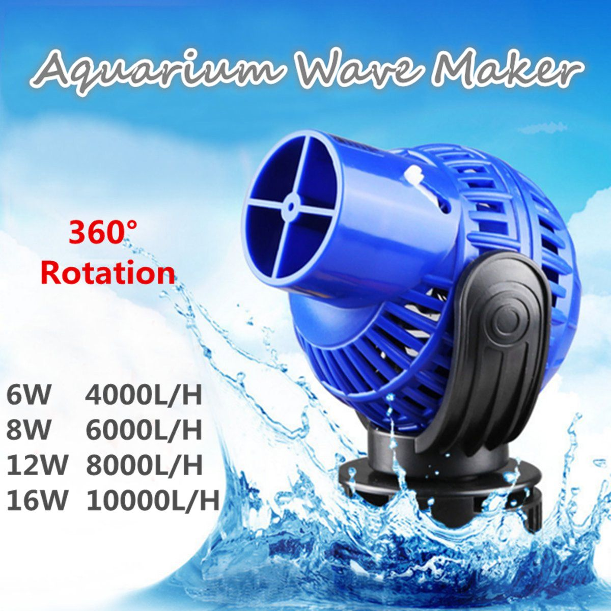 4000-15000L/H Aquarium Fish Tank 360 Water Wave Maker Pump Powerhead Magnet Base Wave Maker For Aquarium Fish Tank Aquarium Pump