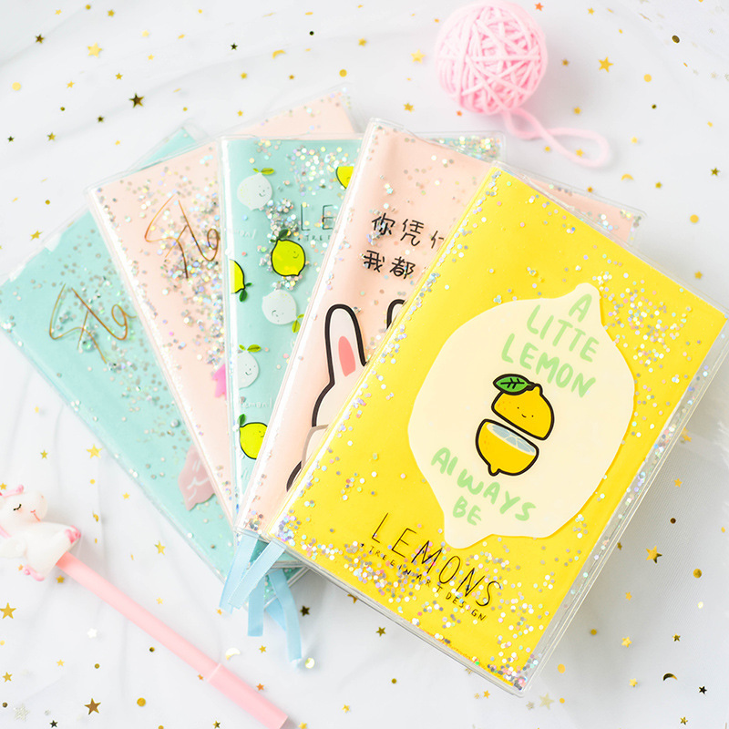 80sheets Originality Shiny Packaging Cute Planner Notebook Rubber Set Diary Journal  PVC Cover Water Sequins Inside