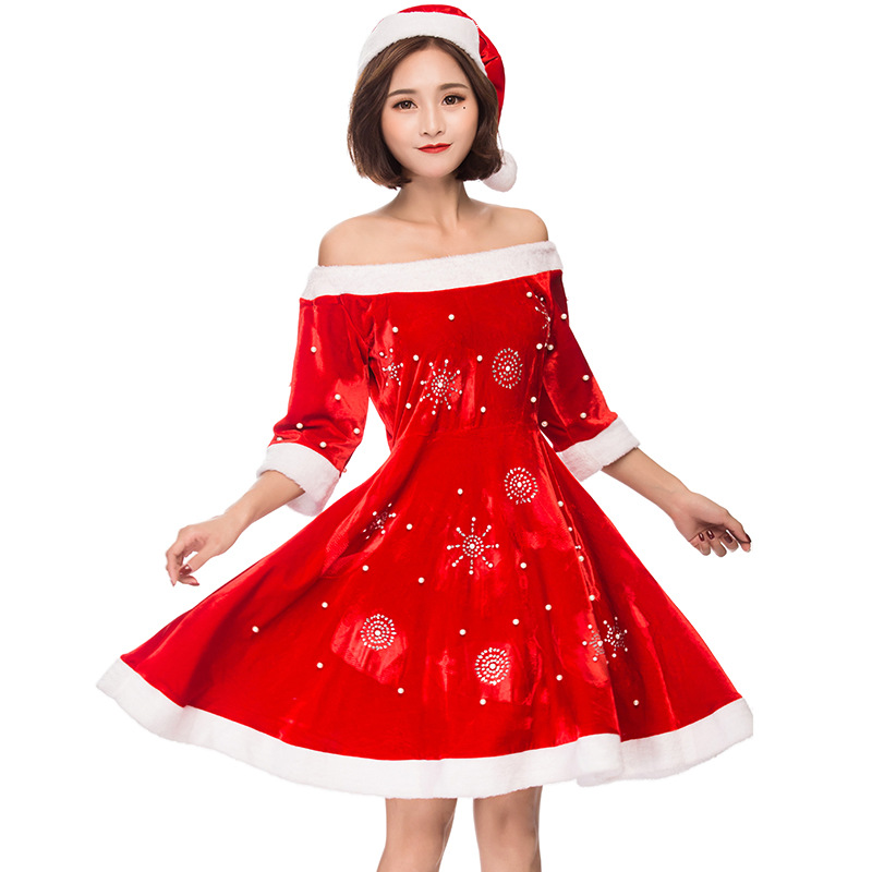 Miss Snowflake Santa Clause Christmas Womans Costume