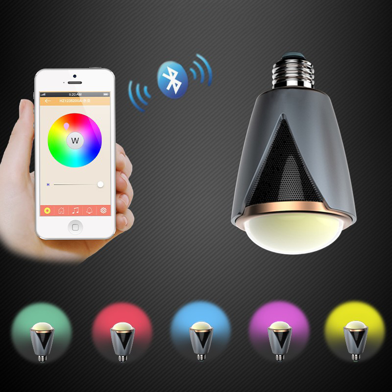 Coloré E27 app contrôle led intelligent bluetooth haut-parleur musique jouant ampoule lumières dimmable led ampoule lampe préfet pour l'éclairage de fête