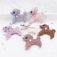 6Pcs Teddy Plush Padded Patches Rhinestone Bow Stick-on Cute Dog Appliques for Clothes Hat Leggings Sewing Supplies Ornament G09