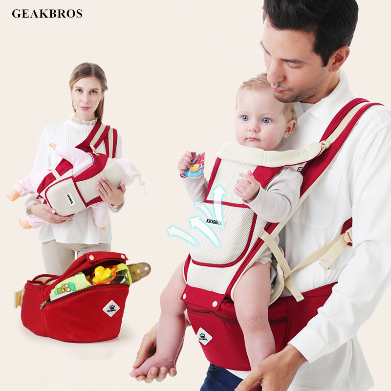 Multifunction Outdoor Kangaroo Baby Carrier With Waist Stool Storage Bag Infant Hipseat Adjustable Wrap 20Kg Ergonomic Kid Sling