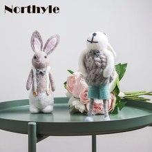 Fleece Rabbit Figurine Home Decoration Wool Bunny Christmas Gift  Miniature Party Decoration Children's Gift Desk Decoration snow bunny s christmas gift