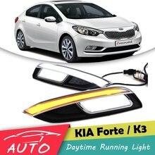DRL для Kia K3 Forte Cerato 2013 2014 новинка 2015 светодиодный автомобилей дневного света Водонепроницаемый вождения Туман лампы с сигнала поворота