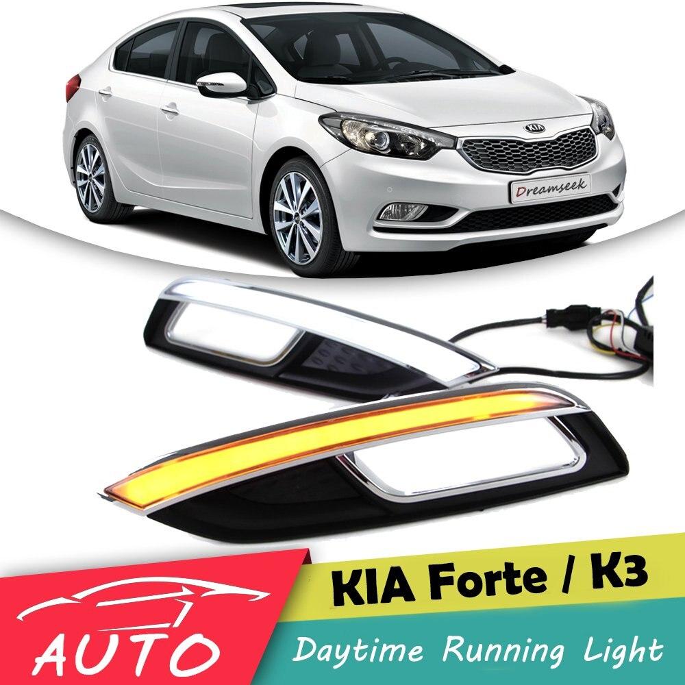 DRL Pour Kia K3 Forte Cerato 2013 2014 2015 Nouveau LED Voiture Daytime Running Light Étanche Conduite Brouillard Lampe Avec clignotants