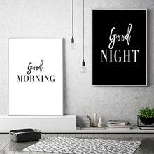 Черно белая Настенная картина «доброе утро» «хорошая ночь» холст