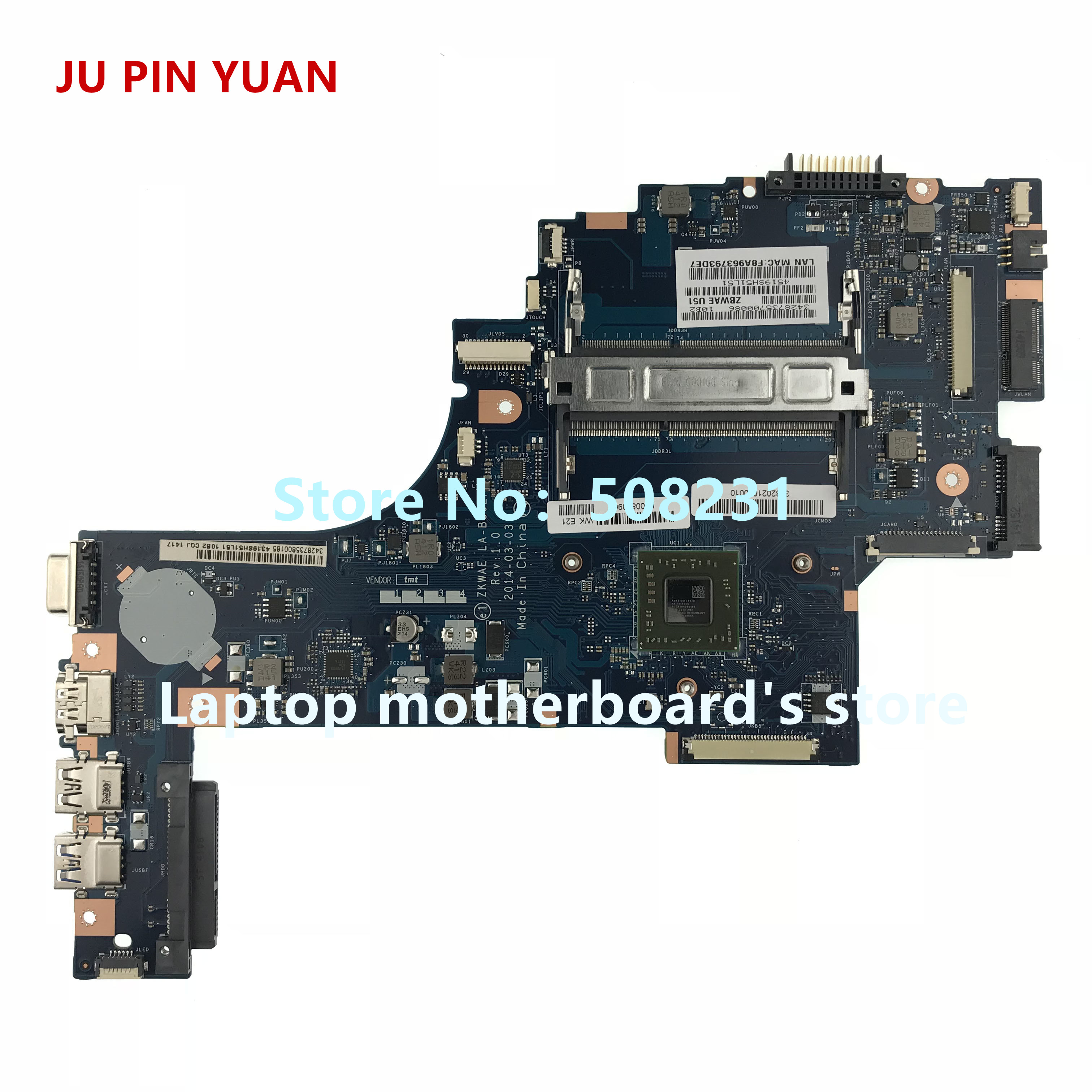 JU PIN YUAN K000890960 LA-B302P <font><b>for</b></font> <font><b>Toshiba</b></font> <font><b>Satellite</b></font> <font><b>C55D</b></font> <font><b>C55D</b></font>-B5219 laptop <font><b>motherboard</b></font> with A6-6310 1.8GHZ fully Tested image