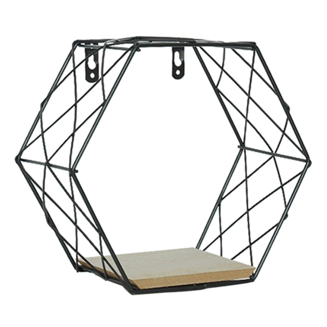 Wrought Nordic Iron Hexagon Grid Wall Shelf Geometry Ornament Storage Hanging Rack - Black S