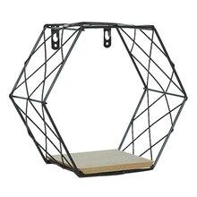 Купить с кэшбэком Wrought Nordic Iron Hexagon Grid Wall Shelf Geometry Wall Ornament Storage Hanging Rack - Black S
