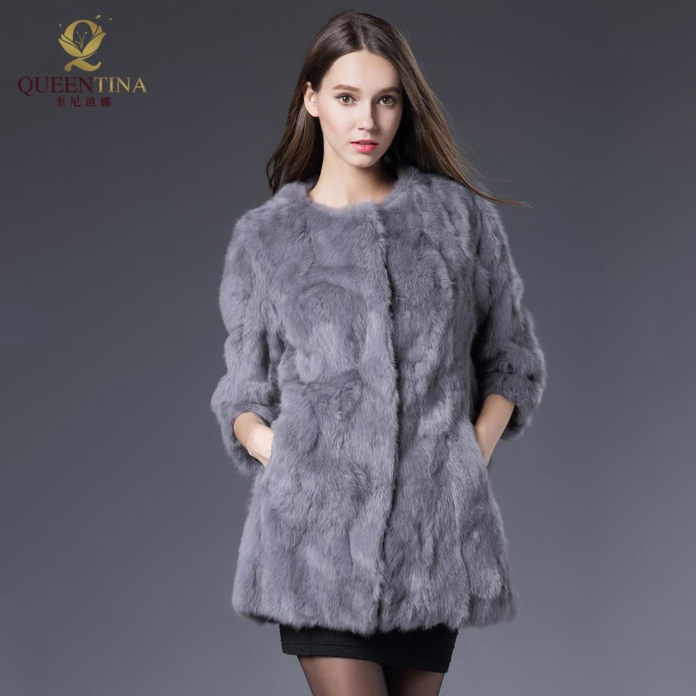 New Women Real Rabbit Fur Coat Jackets Genuine Fur Coat Womens Fashion Outwear High Quality Winter