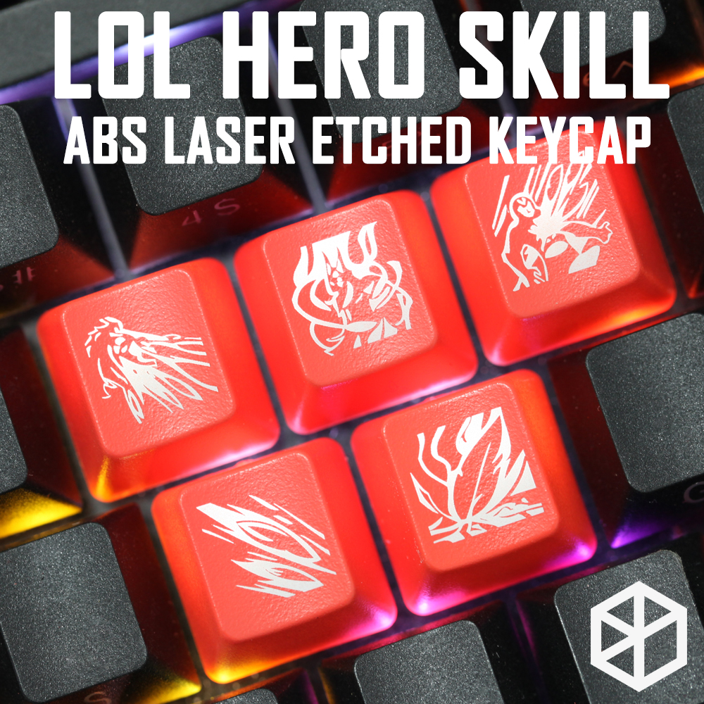 Novelty Shine Through Keycaps ABS Etched, Shine-Through Lol Black Red R2 Hero Skill Khada Jhin Draven Xayah Corki