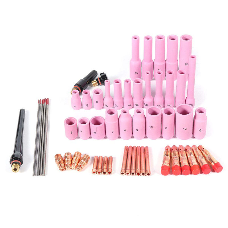 56Pcs/lot TIG Welders Torch Kit Nozzle Collet Stubby Gas Lens Glass Cup WP17 WP18 WP26 WT20 Tungsten Welding Tool Accessories