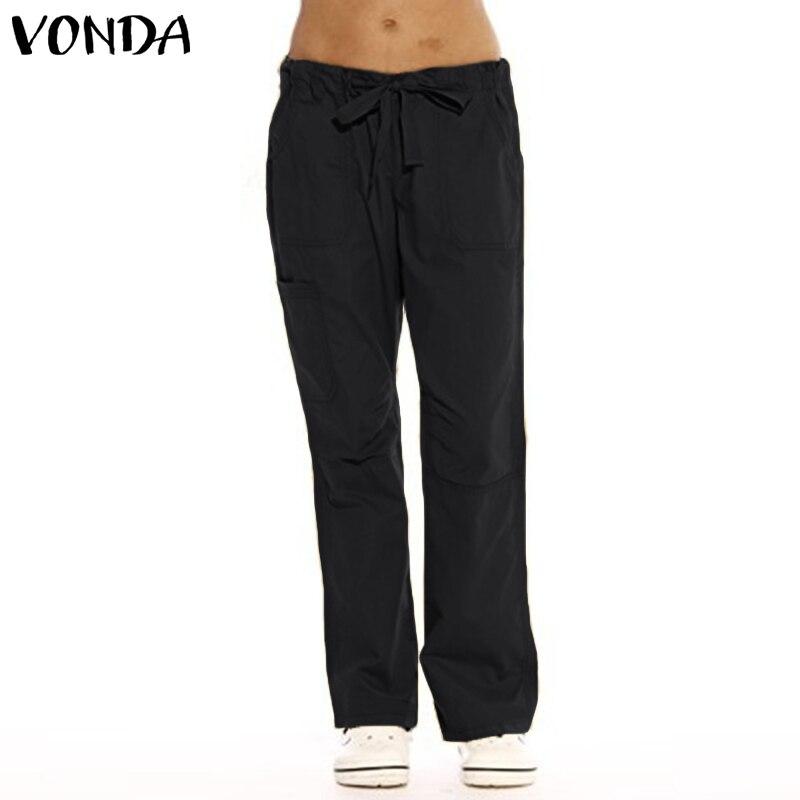 2019 VONDA Women Pants Casual Looae Solid Flare Pants Vintage Pockets Belts Baggy Trousers Female Autumn Plus Size Bottoms