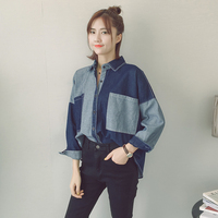2018 fashion denim color women's clothing full sleeve loose plus size shirt blouse patch work beggar tops blusas