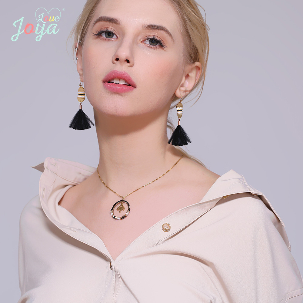 Badu Golden Chain Necklace Stainless Steel Round Tree Pendant Fashion Delicate Jewelry Short Chain Necklaces Wholesale in Chain Necklaces from Jewelry Accessories