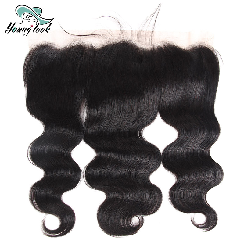 Young Look Hair Brazilian Body Wave Lace Frontal Closure 100% Human Hair 13*4 Lace Closures Non Remy 8-20 Inch #1B Free Shipping