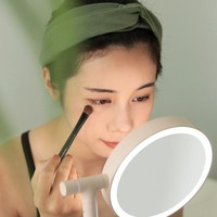 Cute LED Makeup Light Turnover Makeup Lamp 4 Colors Led Light Makeup Mirror Charged Benchtop Princess Mirror Lamp Desktop Accept